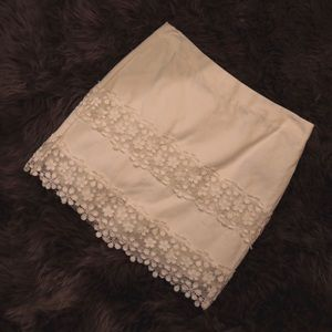 Jcrew White Skirt with Lace Details